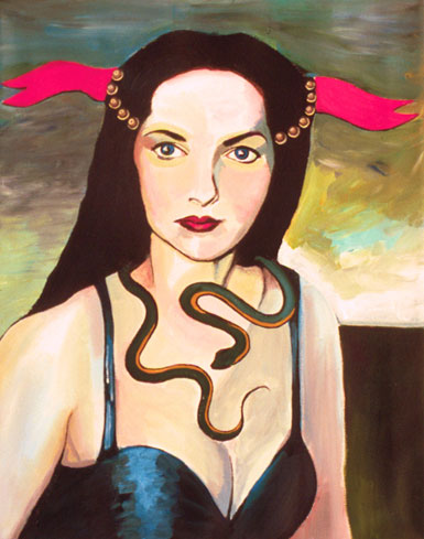 Lady with snake, pearls, and ribbon.