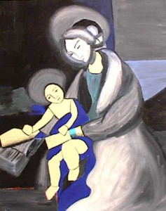 Mary holds baby Jesus, wrapped in royal blue blanket.