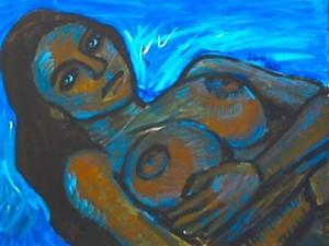 Dead woman floats in the river, her eyes open.