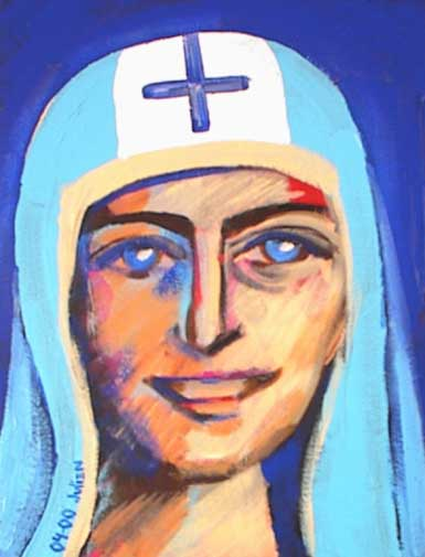 Blue Saint with cross and skullcap