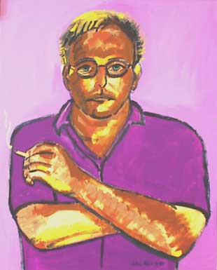 Purple John Maxim with glasses and cigarette