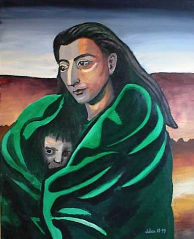 Indian (Native American) lady with baby wrapped in green robe.