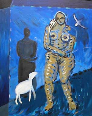 Nude Female with lamb, dove, shadowy figure and shepherd crook, walks alone at night with black sun