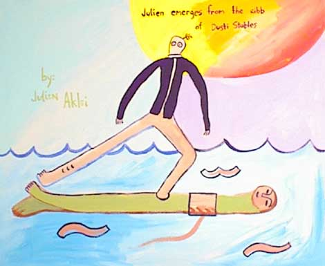 Julien emerges from the rib of Dusty Stable, a green man floating on the ocean, with big sun