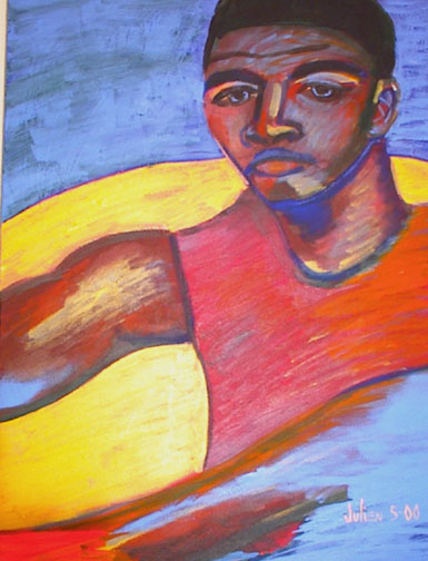 Painting of black man in red tank top with yellow earth and blue sky.