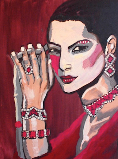 Lady with Rubies on Red Background.