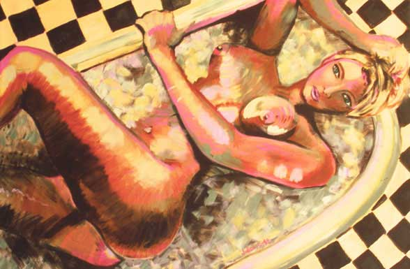 Painting of nude woman, Bubbles Alexander, taking a bubble bath, with checkered floor.