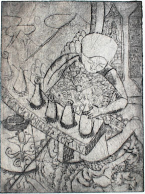 Copper print of Tibetan making Torma with gods and Himalayas.
