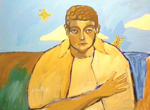 Painting of Eric Edelstein with butterflies.