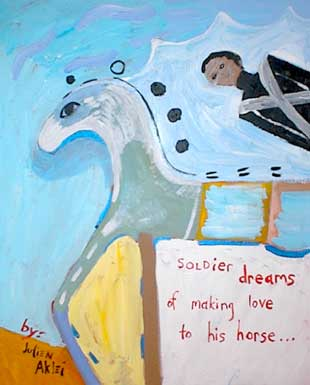 Painting of a soldier who dreams of making love to his horse.
