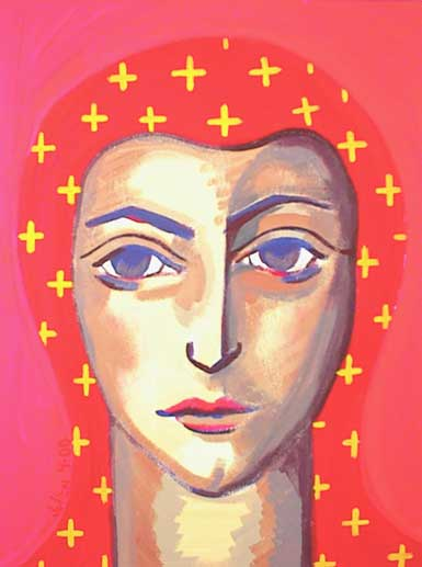 Painting of  blue-eyed saint with red habit and yellow crosses.