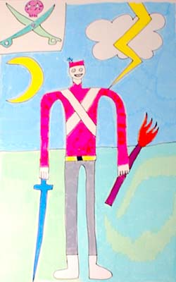 Drawing of soldier with blue sword, torch, lightening bolt, and pirate flag.