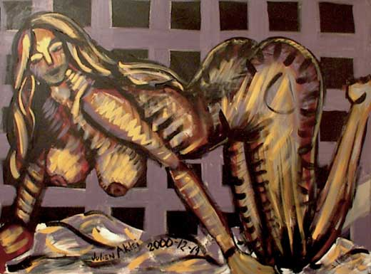 Painting of naked woman in cage with blanket and black background.