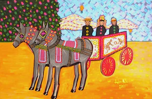 Painting of Jackson Rice, John Henderson, and Julien Aklei on horse and buggy with hot air balloons.
