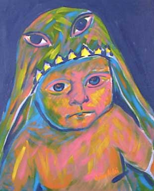 Painting of Baby, Prince Coin, wearing dragon outfit.