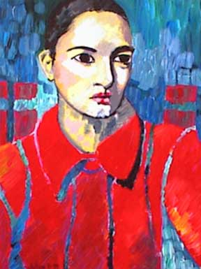 Painting. Acrylic on Canvas. Lady in red coat in front of cityscape.