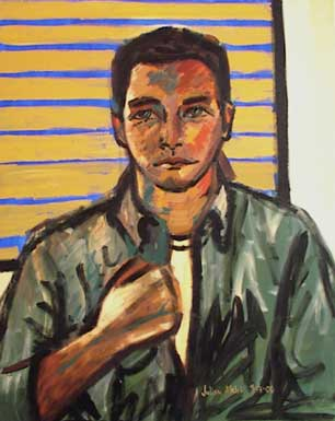 Portrait of Paul Mabray in green shirt in front of window, shades drawn