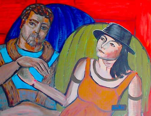 Painting of engaged couple on cushions. Red background. Woman in orange dress and black hat.