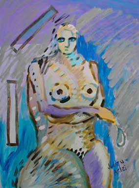 Mineral Aklei: A painting of nude lady with drip and rectangles on blue and purple background.