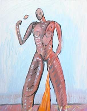 Painting of nude woman (brownie) with orange cape and brown egg