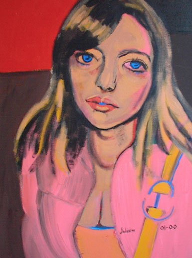 Painting of girl in pink jacket with purse in subway. Blue eyes.
