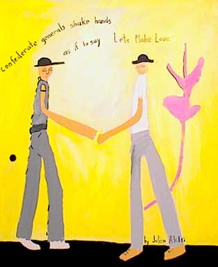 """Confederate generals shake hands as if to say, 'Let's Make Love."""" Two soldiers, pink leaf, black dot, yellow background. Acrylic on canvas."""