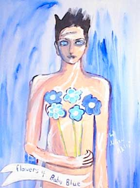 Painting, Flowers for baby blue, short haired female holding blue flowers on blue background. Acrylic on canvas.