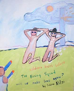 Soldiers kneel before the firing squad. Will we make love again. Acrylic on canvas. Crucifix.