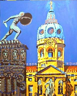 Painting of statues and cathedral. Man with sword and dagger.