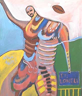 "Painting of lonely nude man with football, and sign that says, ""I'm lonely!"""
