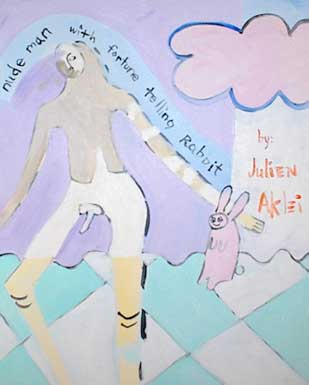 Painting of nude man with fortune telling rabbit. Checkerboard grass and pink cloud.