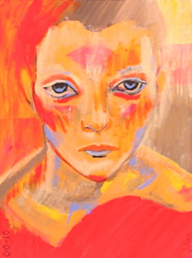Painting of flame orange girl with blue eyes.