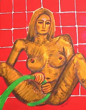 Nude Lady with green fire hose on red background.