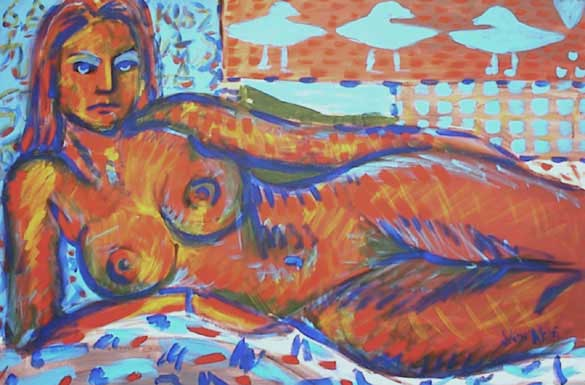 Nude Lady reclining while electric blue eagles dance.