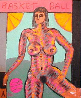 Nude woman with basketball.