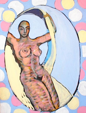 Nude woman with pastel ribbon and polka dots.