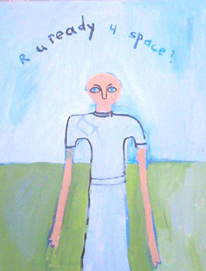 Are you ready for space? Grey alien with big eyes in pants suit.