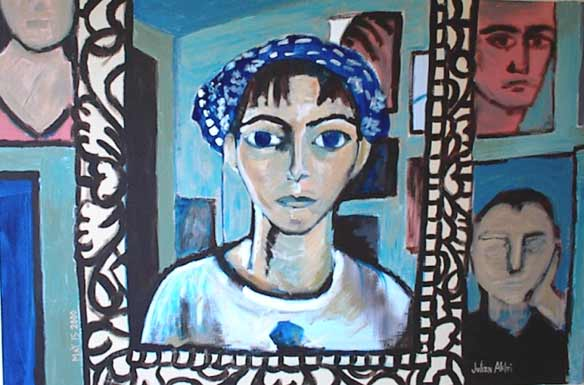 Julien in blue studio with bandana, mirror, and paintings. Self-portrait.