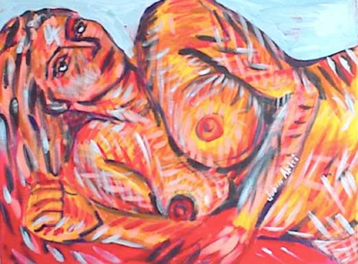 Naked woman fallen in battle.