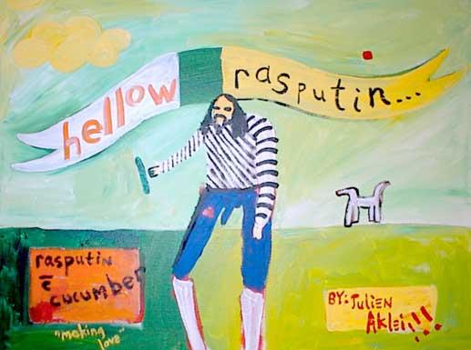"Hellow Rasputin. Rasputin with a cucumber (his best friend), plus a dog and polka dot. ""Making Love."""