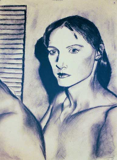 self-portrait in charcoal with blinds and mysterious figure