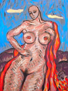Nude lady on a mountain with a red robe and fallen head.