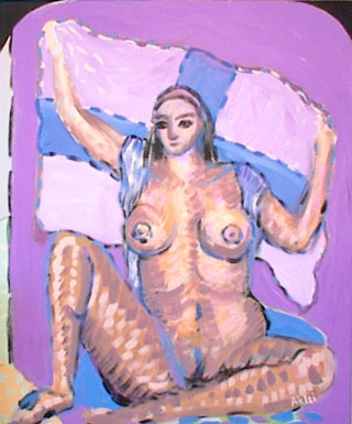 Nude Lady holding blue and lavender cross flag on lavender background.