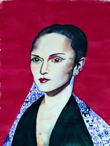 Portrait of Lady with red background and blue toile. Watercolor.