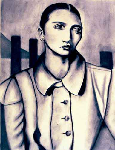 Woman in coat in front of cityscape. Charcoal.