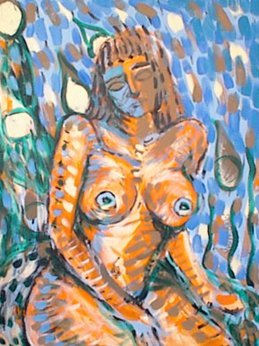 Nude woman with white raindrops, sitting on a log.