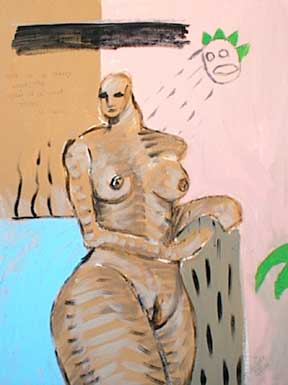 Spirit of a plant talks to a nude woman