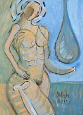Nude woman with a bone and a raindrop.