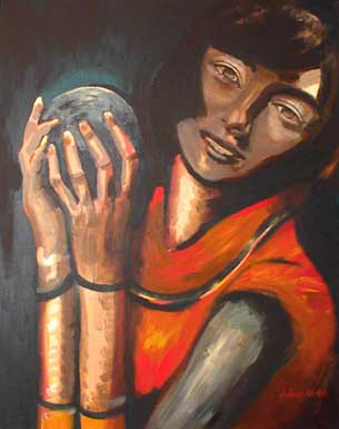 Girl with a bony arm holding a gray ball.
