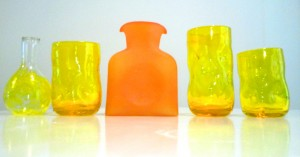Orange and Yellow hand blown Blenko Glass